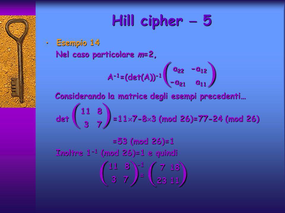 Esempio 14 Esempio 14 Nel caso particolare m=2, Nel caso particolare m=2, A -1 =(det(A)) -1 A -1 =(det(A)) -1 Considerando la matrice degli esempi pre