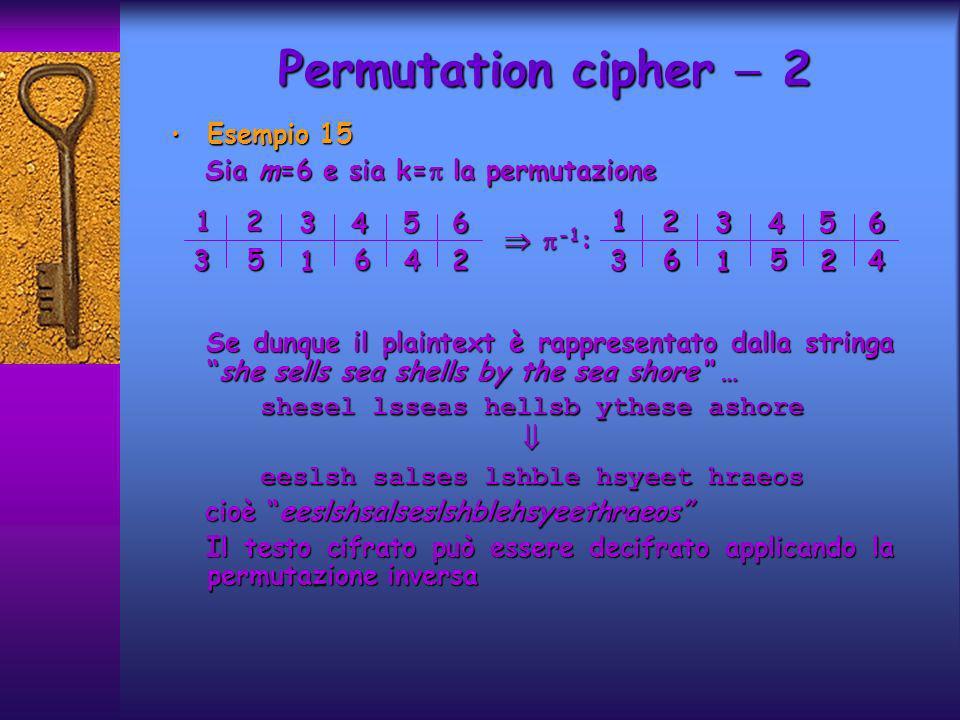 Esempio 15 Esempio 15 Sia m=6 e sia k= la permutazione Sia m=6 e sia k= la permutazione -1 : -1 : Se dunque il plaintext è rappresentato dalla stringa