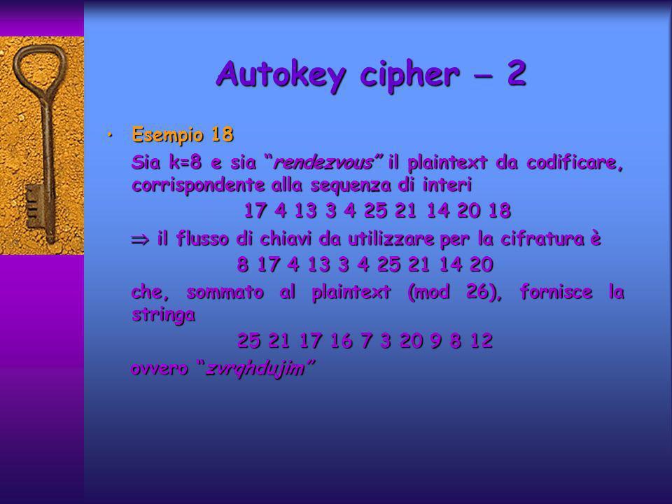 Esempio 18 Esempio 18 Sia k=8 e sia rendezvous il plaintext da codificare, corrispondente alla sequenza di interi Sia k=8 e sia rendezvous il plaintex