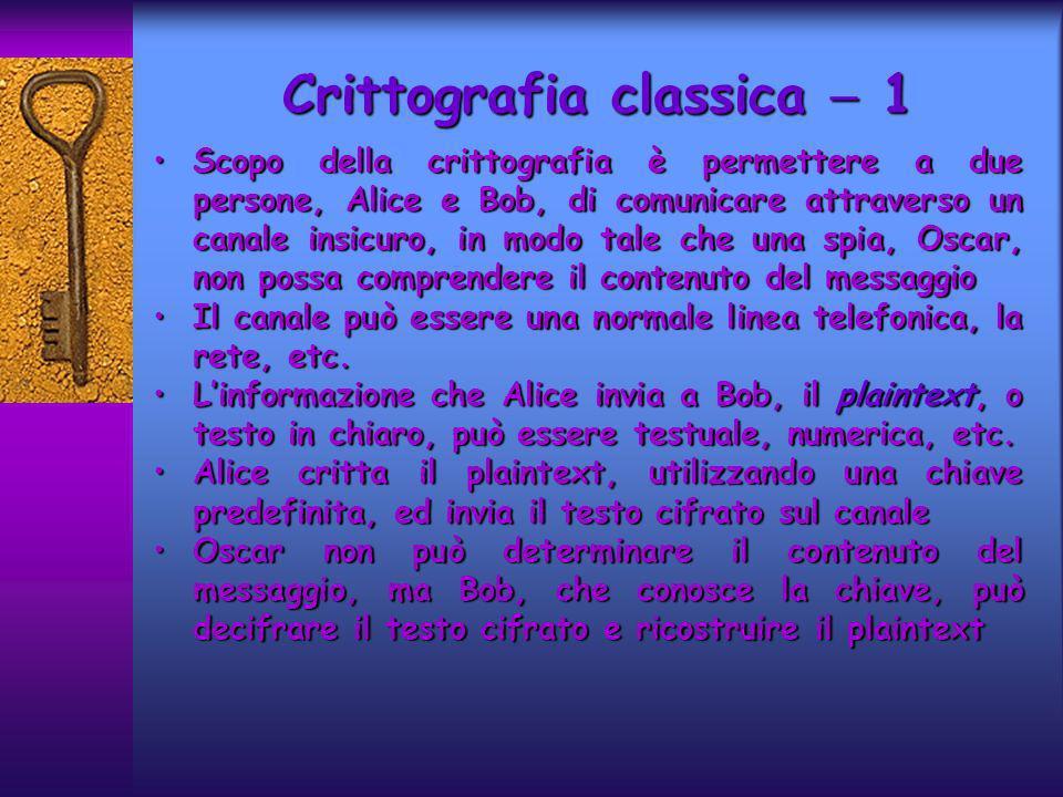 Crittografia classica 1 Scopo della crittografia è permettere a due persone, Alice e Bob, di comunicare attraverso un canale insicuro, in modo tale ch
