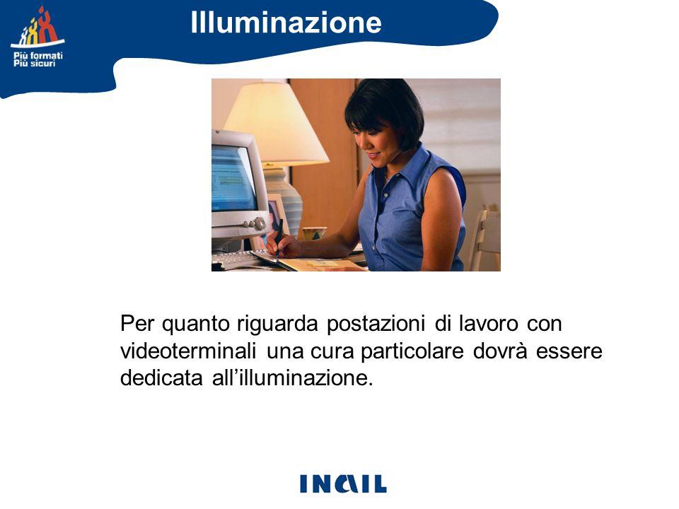 Per quanto riguarda postazioni di lavoro con videoterminali una cura particolare dovrà essere dedicata allilluminazione. Illuminazione