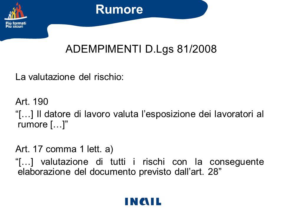 ADEMPIMENTI D.Lgs 81/2008 La valutazione del rischio: Art. 190 […] Il datore di lavoro valuta lesposizione dei lavoratori al rumore […] Art. 17 comma