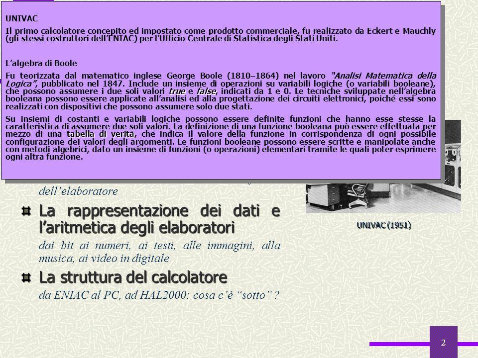 2 Lalgebra di Boole da Analisi Matematica della Logica (1847) al progetto degli elaboratori digitali Sistemi di numerazione da decimale a binario, a e