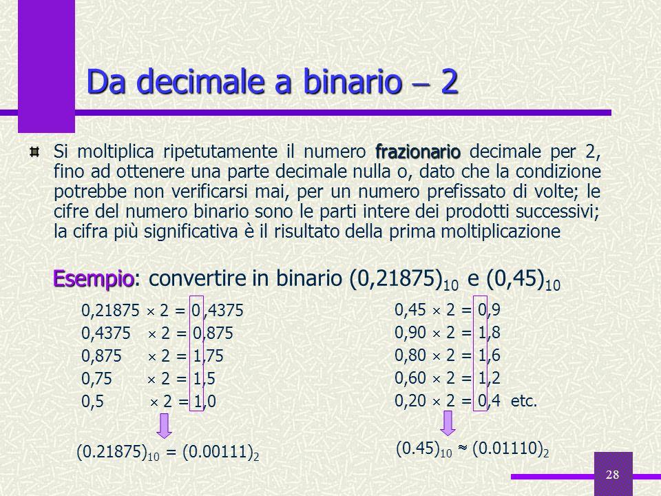 28 frazionario Si moltiplica ripetutamente il numero frazionario decimale per 2, fino ad ottenere una parte decimale nulla o, dato che la condizione p