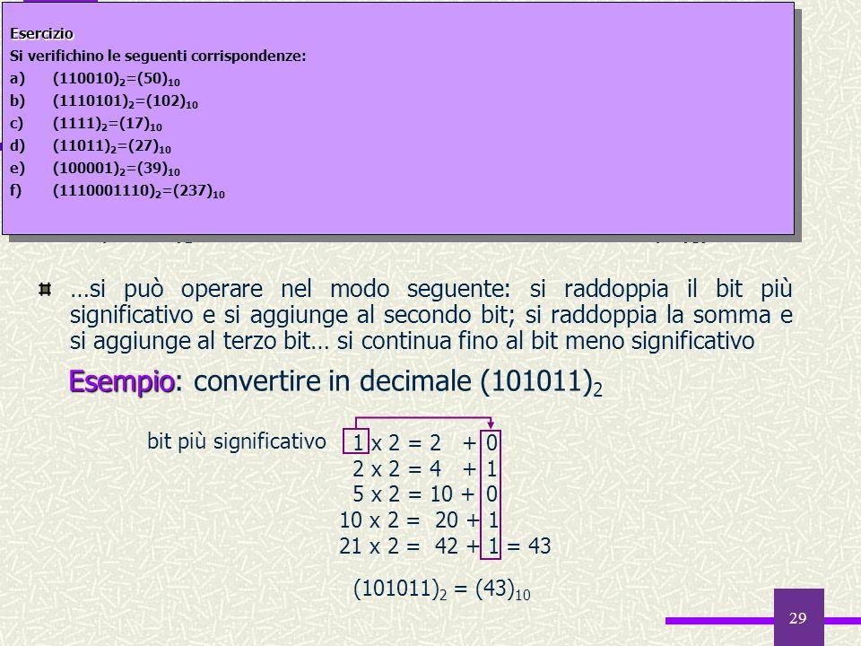 29 Da binario a decimale forma polinomia Oltre allespansione esplicita in potenze del 2 forma polinomia… …si può operare nel modo seguente: si raddopp