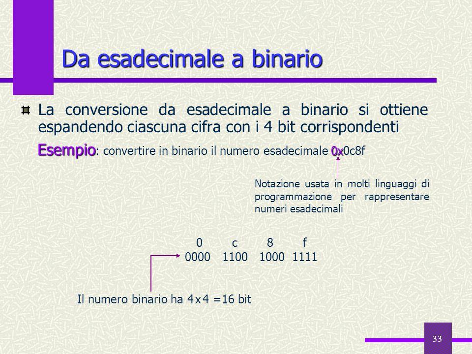33 Da esadecimale a binario La conversione da esadecimale a binario si ottiene espandendo ciascuna cifra con i 4 bit corrispondenti Esempio 0x Esempio