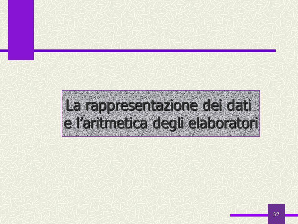 37 La rappresentazione dei dati e laritmetica degli elaboratori