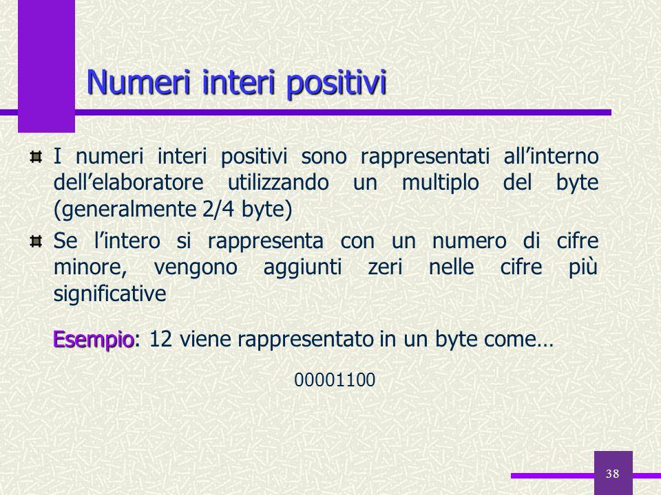 38 Numeri interi positivi I numeri interi positivi sono rappresentati allinterno dellelaboratore utilizzando un multiplo del byte (generalmente 2/4 by