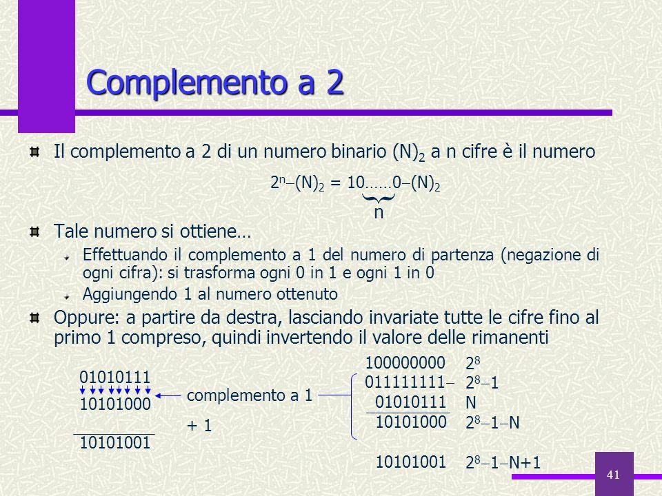 41 Complemento a 2 Il complemento a 2 di un numero binario (N) 2 a n cifre è il numero Tale numero si ottiene… Effettuando il complemento a 1 del nume