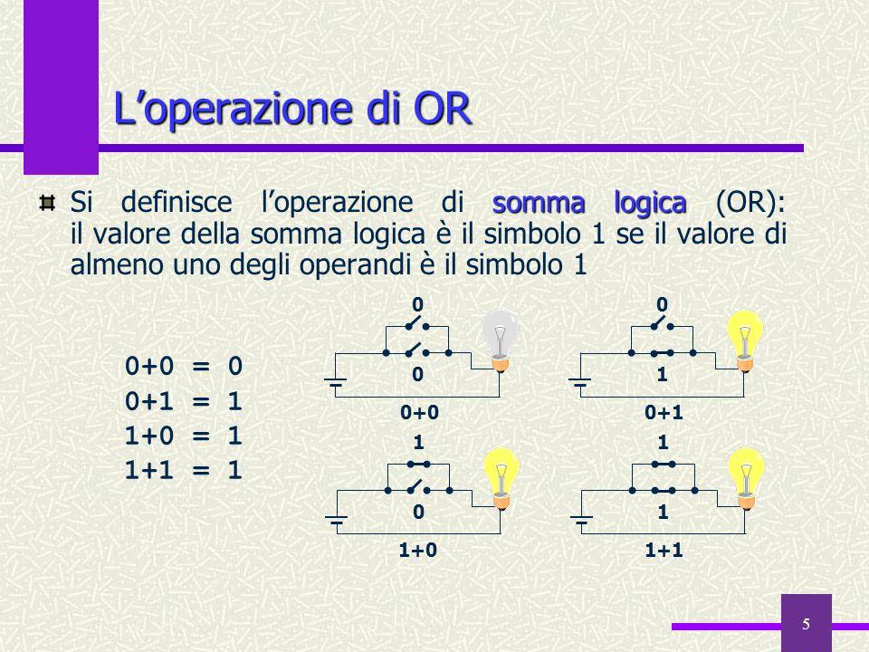 5 Loperazione di OR somma logica Si definisce loperazione di somma logica (OR): il valore della somma logica è il simbolo 1 se il valore di almeno uno