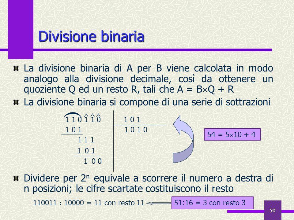 50 La divisione binaria di A per B viene calcolata in modo analogo alla divisione decimale, così da ottenere un quoziente Q ed un resto R, tali che A