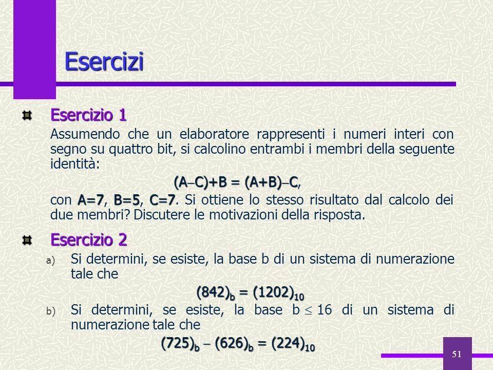 51 Esercizi Esercizio 1 Assumendo che un elaboratore rappresenti i numeri interi con segno su quattro bit, si calcolino entrambi i membri della seguen