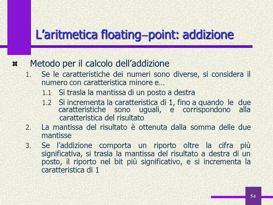 54 Metodo per il calcolo delladdizione 1. Se le caratteristiche dei numeri sono diverse, si considera il numero con caratteristica minore e… 1.1 Si tr
