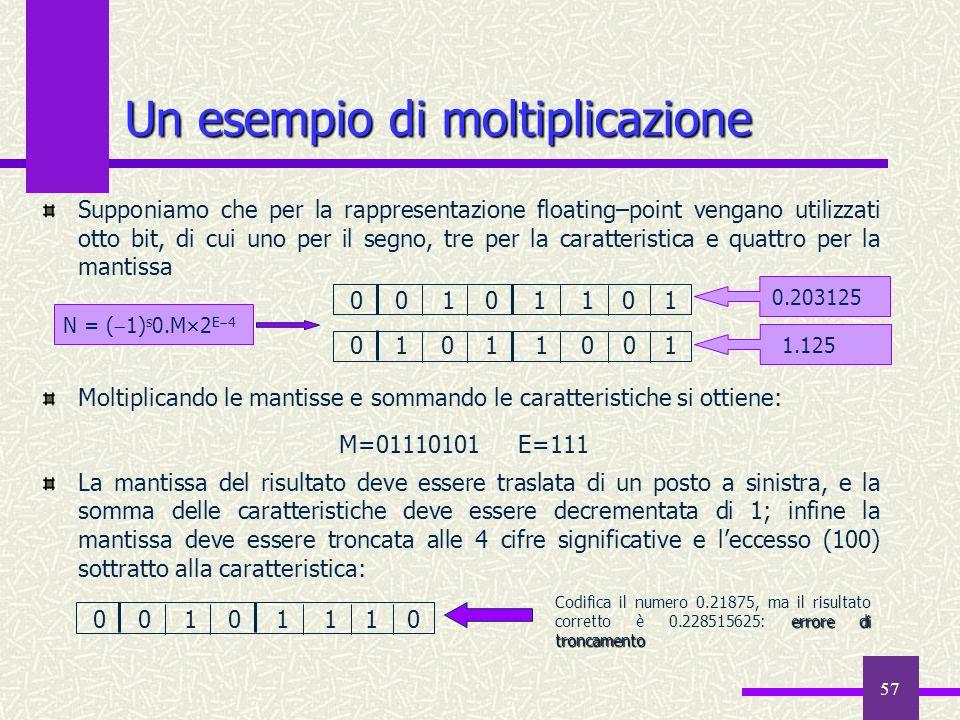 57 Supponiamo che per la rappresentazione floating–point vengano utilizzati otto bit, di cui uno per il segno, tre per la caratteristica e quattro per
