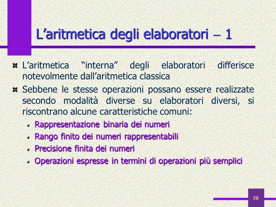 58 Laritmetica interna degli elaboratori differisce notevolmente dallaritmetica classica Sebbene le stesse operazioni possano essere realizzate second