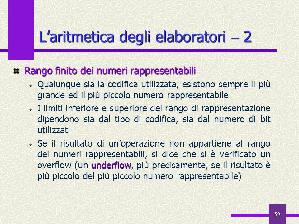 59 Rango finito dei numeri rappresentabili Qualunque sia la codifica utilizzata, esistono sempre il più grande ed il più piccolo numero rappresentabil