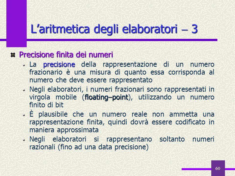 60 Precisione finita dei numeri precisione La precisione della rappresentazione di un numero frazionario è una misura di quanto essa corrisponda al nu