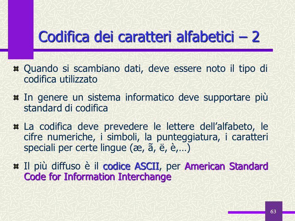 63 Codifica dei caratteri alfabetici – 2 Quando si scambiano dati, deve essere noto il tipo di codifica utilizzato In genere un sistema informatico de