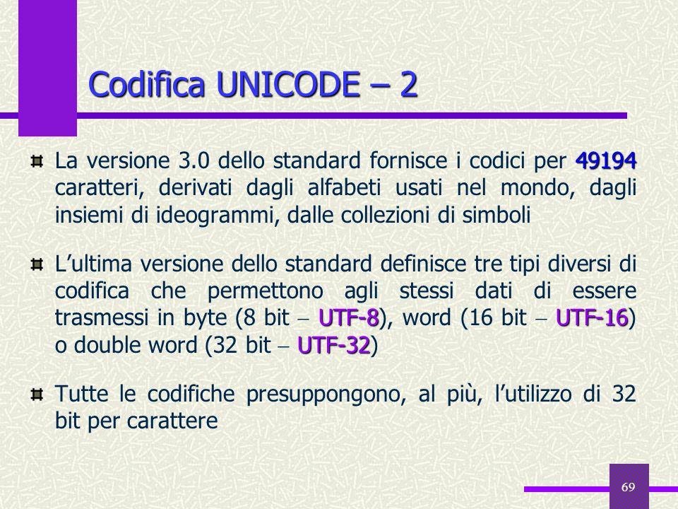 69 Codifica UNICODE – 2 49194 La versione 3.0 dello standard fornisce i codici per 49194 caratteri, derivati dagli alfabeti usati nel mondo, dagli ins