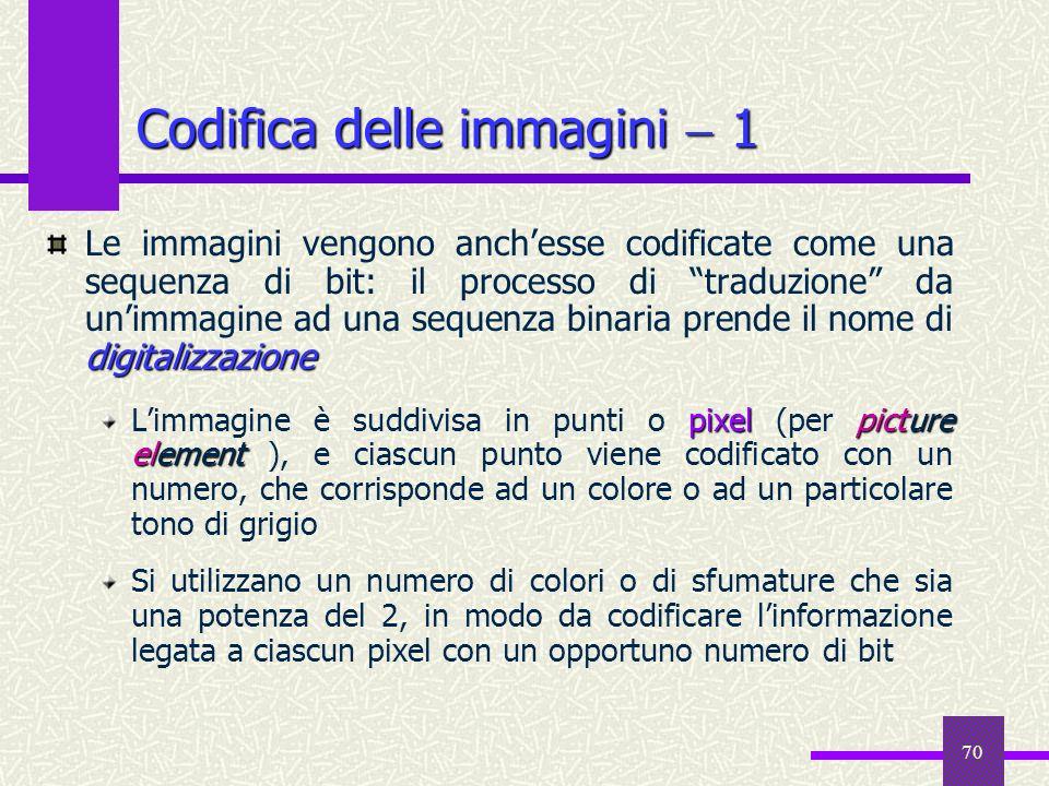 70 Codifica delle immagini 1 digitalizzazione Le immagini vengono anchesse codificate come una sequenza di bit: il processo di traduzione da unimmagin