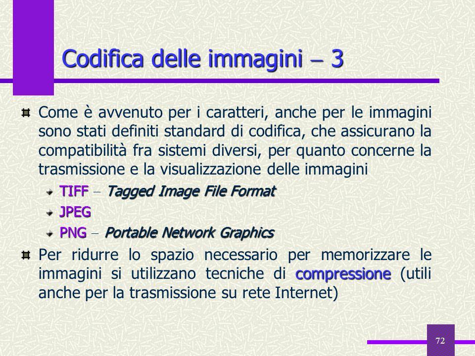 72 Codifica delle immagini 3 Come è avvenuto per i caratteri, anche per le immagini sono stati definiti standard di codifica, che assicurano la compat