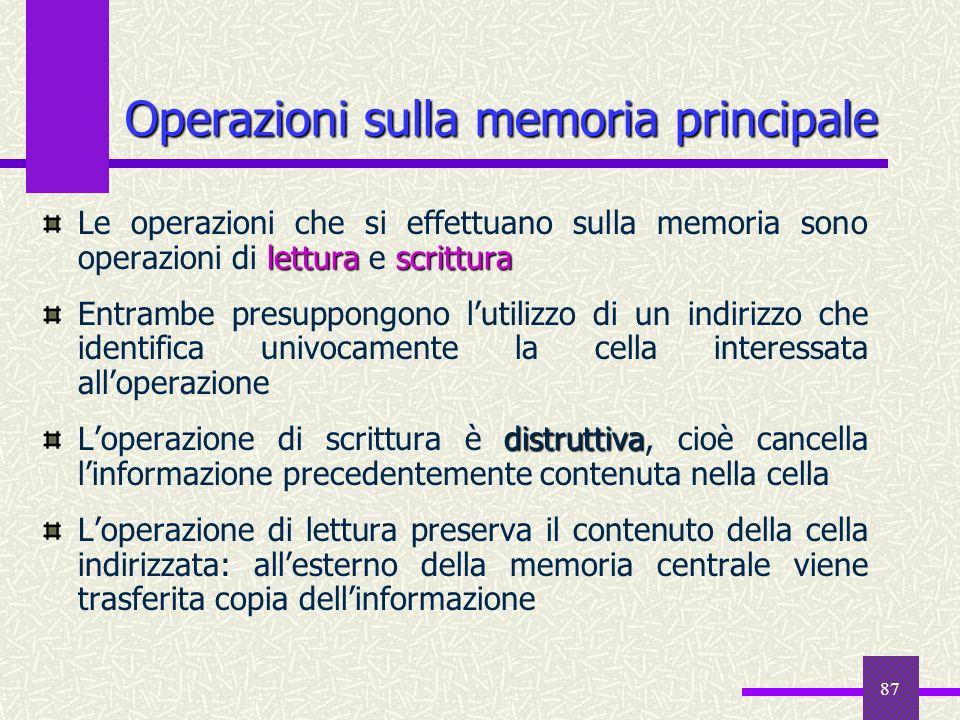 87 letturascrittura Le operazioni che si effettuano sulla memoria sono operazioni di lettura e scrittura Entrambe presuppongono lutilizzo di un indiri