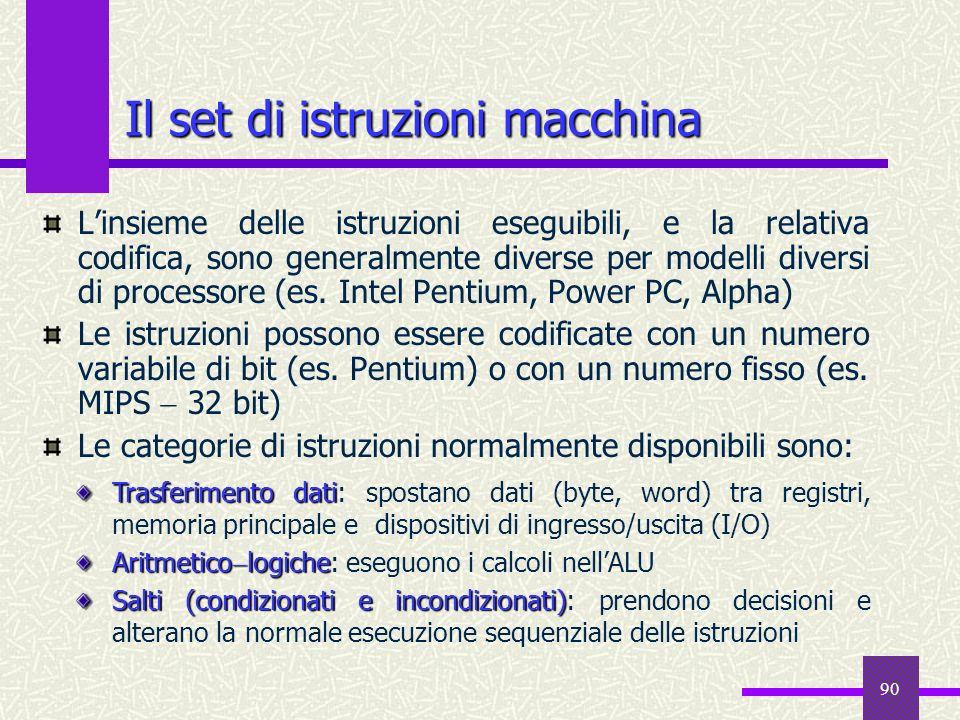 90 Il set di istruzioni macchina Linsieme delle istruzioni eseguibili, e la relativa codifica, sono generalmente diverse per modelli diversi di proces