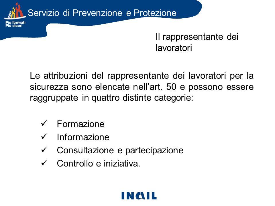 Le attribuzioni del rappresentante dei lavoratori per la sicurezza sono elencate nellart.