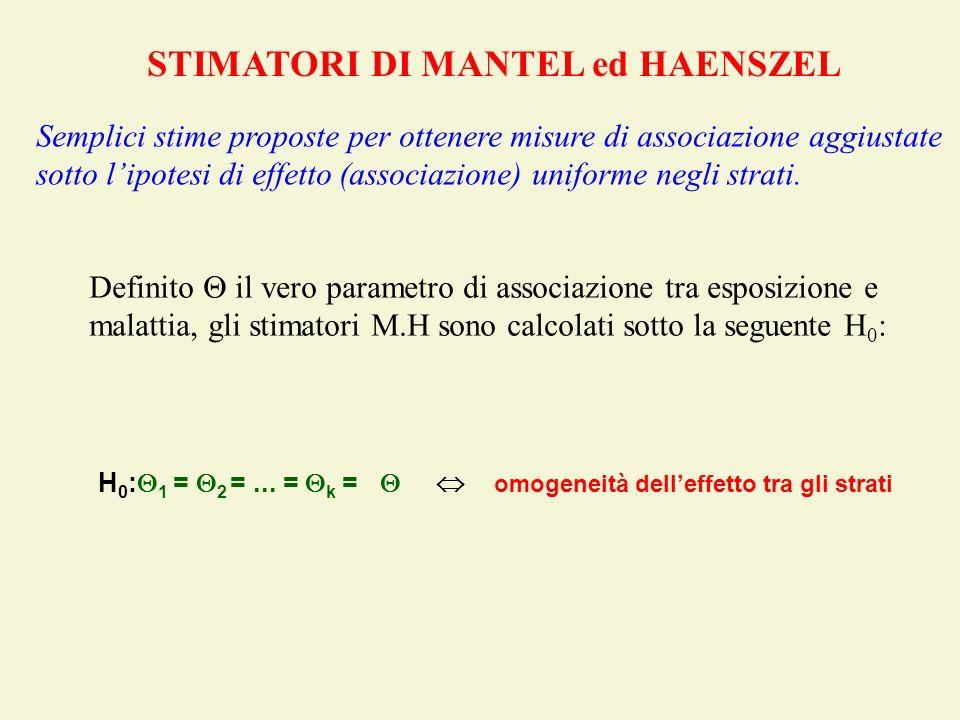 STIMATORI DI MANTEL ed HAENSZEL Semplici stime proposte per ottenere misure di associazione aggiustate sotto lipotesi di effetto (associazione) unifor