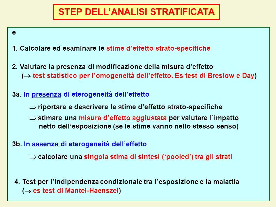STEP DELLANALISI STRATIFICATA e 1. Calcolare ed esaminare le stime deffetto strato-specifiche 2. Valutare la presenza di modificazione della misura de