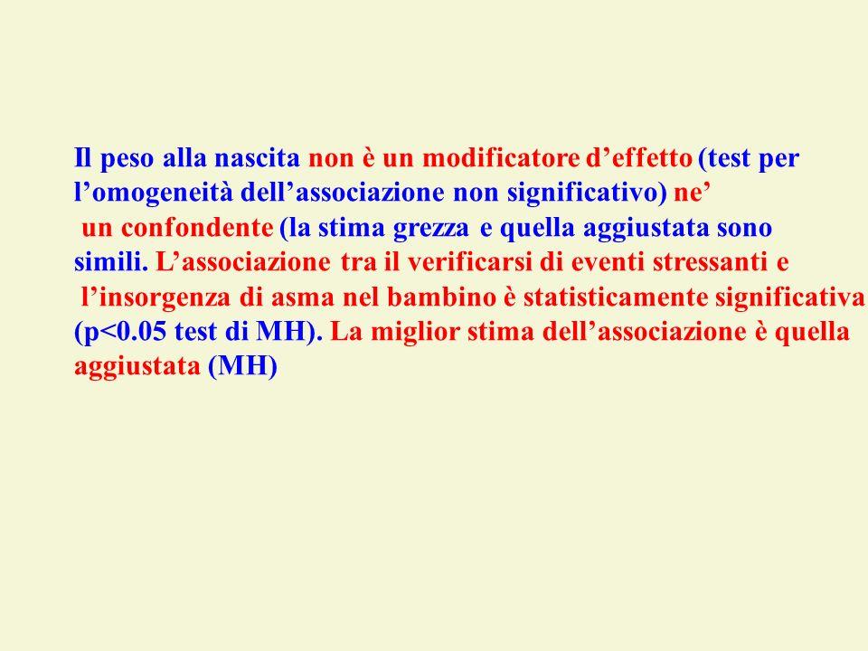 Il peso alla nascita non è un modificatore deffetto (test per lomogeneità dellassociazione non significativo) ne un confondente (la stima grezza e que