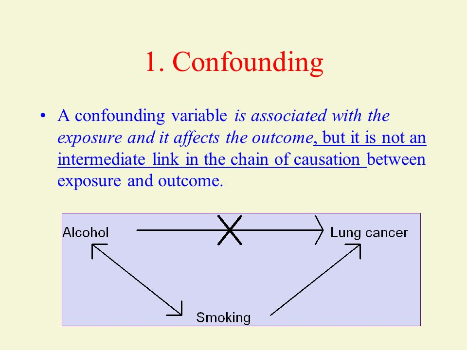1. Confounding A confounding variable is associated with the exposure and it affects the outcome, but it is not an intermediate link in the chain of c