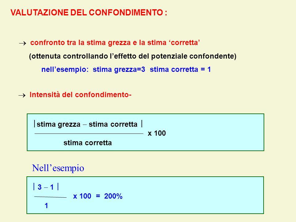 VALUTAZIONE DEL CONFONDIMENTO : stima grezza stima corretta x 100 stima corretta confronto tra la stima grezza e la stima corretta (ottenuta controlla