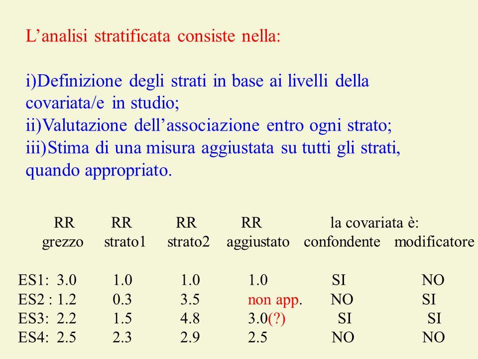 Lanalisi stratificata consiste nella: i)Definizione degli strati in base ai livelli della covariata/e in studio; ii)Valutazione dellassociazione entro