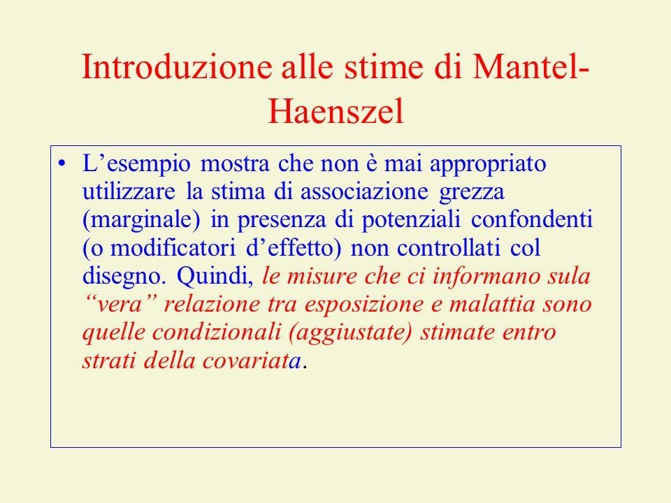 Introduzione agli stimatori di Mantel-Haenszel Misure aggiustate: –Caso 1: le stime condizionali (entro strato) sono differenti.