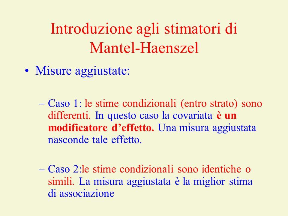 Introduzione agli stimatori di Mantel-Haenszel Misure aggiustate: –Caso 1: le stime condizionali (entro strato) sono differenti. In questo caso la cov