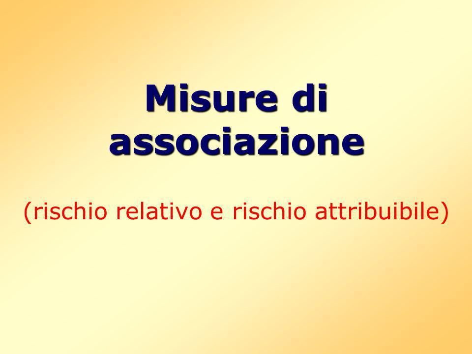 Misure di associazione Misure di associazione (rischio relativo e rischio attribuibile)