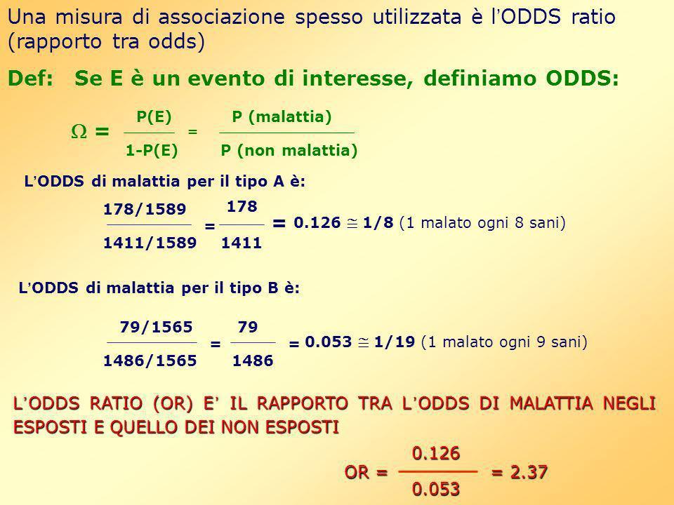 Una misura di associazione spesso utilizzata è l ODDS ratio (rapporto tra odds) Def:Se E è un evento di interesse, definiamo ODDS: P(E) 1-P(E) = P (ma