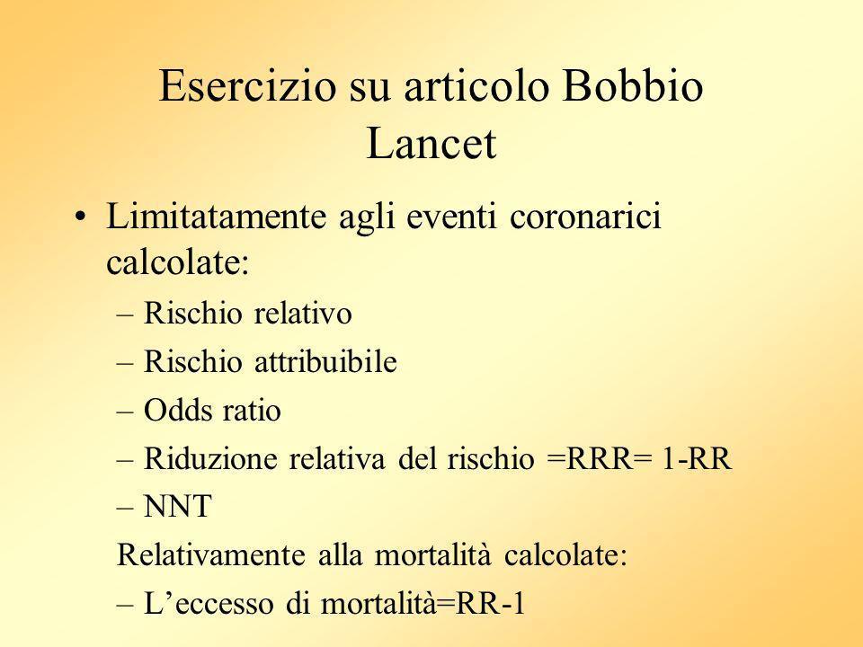 Esercizio su articolo Bobbio Lancet Limitatamente agli eventi coronarici calcolate: –Rischio relativo –Rischio attribuibile –Odds ratio –Riduzione rel