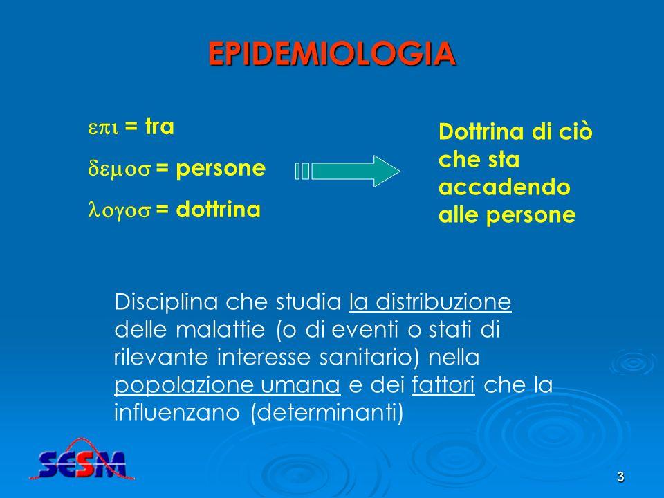 2 Esempi di domande a cui risponde lepidemiologia Qual è la prevalenza del tumore allesofago (o dellabitudine al fumo)? Quale è stata la sua evoluzion