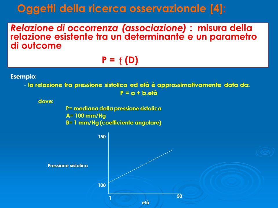 Esempio: - la relazione tra pressione sistolica ed età è approssimativamente data da: P = a + b.età dove: P= mediana della pressione sistolica A= 100