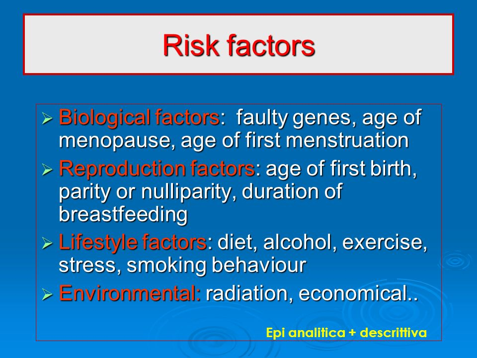 Risk factors Biological factors: faulty genes, age of menopause, age of first menstruation Biological factors: faulty genes, age of menopause, age of