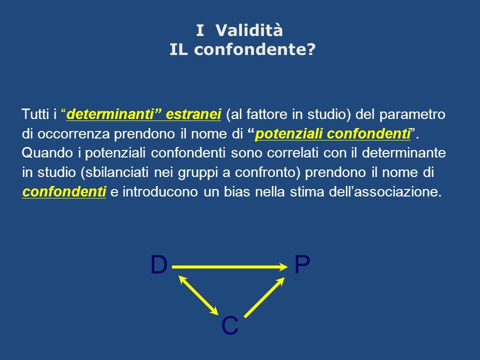 Tutti i determinanti estranei (al fattore in studio) del parametro di occorrenza prendono il nome di potenziali confondenti. Quando i potenziali confo