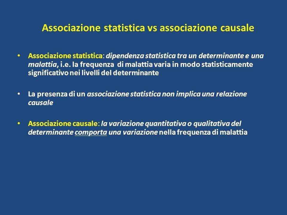 Associazione statistica vs associazione causale Associazione statistica: dipendenza statistica tra un determinante e una malattia, i.e. la frequenza d