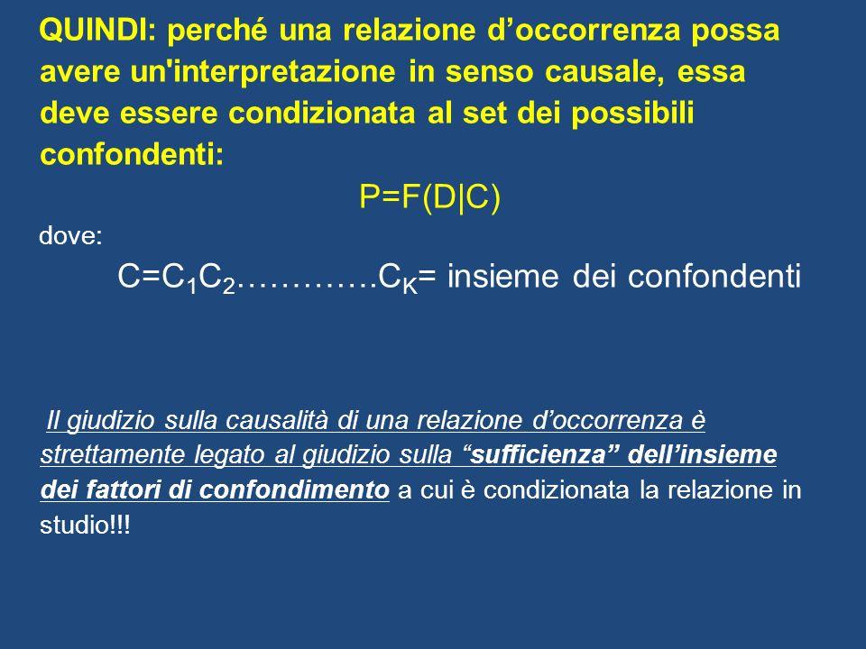 QUINDI: perché una relazione doccorrenza possa avere un'interpretazione in senso causale, essa deve essere condizionata al set dei possibili confonden