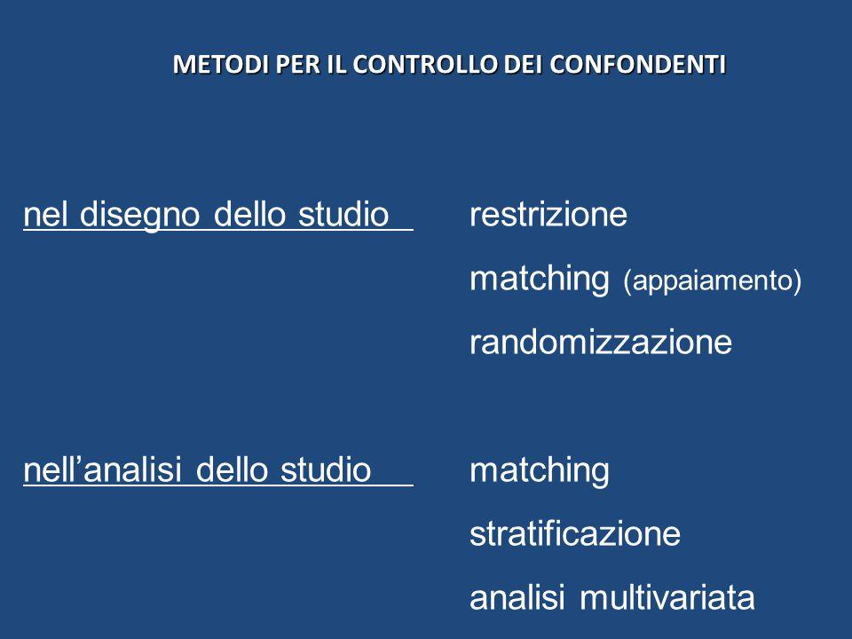 METODI PER IL CONTROLLO DEI CONFONDENTI METODI PER IL CONTROLLO DEI CONFONDENTI nel disegno dello studio restrizione matching (appaiamento) randomizza