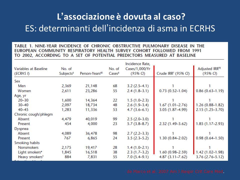 L associazione è dovuta al caso? ES: determinanti dell incidenza di asma in ECRHS de Marco et al. 2007 Am J Respir Crit Care Med.