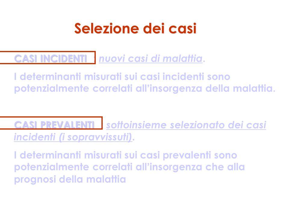 Selezione dei casi CASI INCIDENTI CASI INCIDENTI : nuovi casi di malattia. I determinanti misurati sui casi incidenti sono potenzialmente correlati al