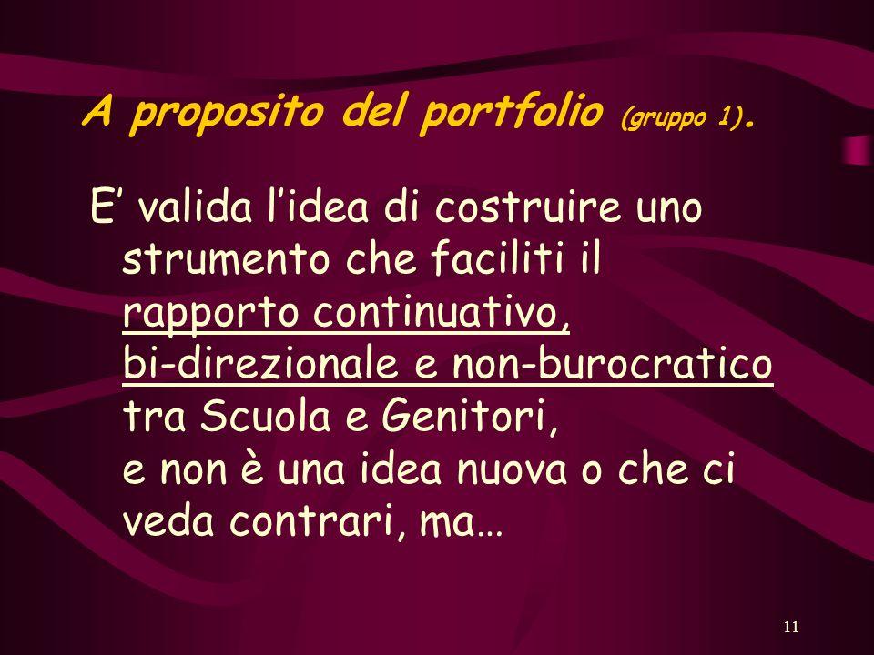 11 A proposito del portfolio (gruppo 1).