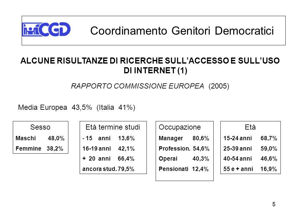 5 ALCUNE RISULTANZE DI RICERCHE SULLACCESSO E SULLUSO DI INTERNET (1) RAPPORTO COMMISSIONE EUROPEA (2005) Media Europea 43,5% (Italia 41%) Coordinamen